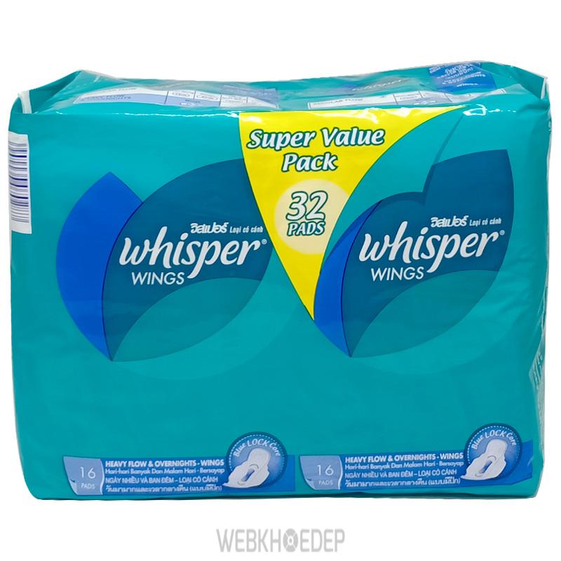 Băng vệ sinh có cánh Whisper cho ban đêm