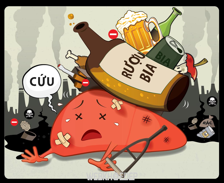 Bia, rượu cũng như thuốc lá là những tác nhân chủ yếu gây ung thư gan ở nam giới