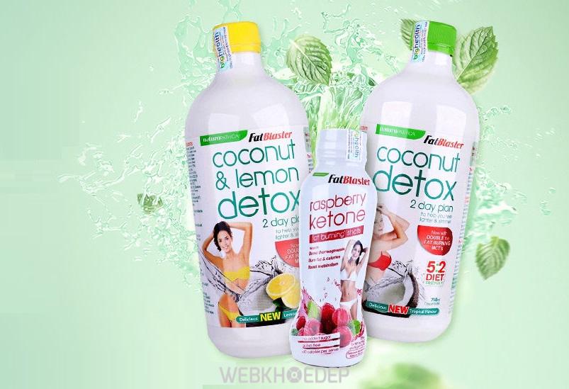 Fatblaster Coconut Detox và Raspberry Naturopathica là nước uống giảm cân thanh lọc cơ thể, giúp giảm cân vượt trội