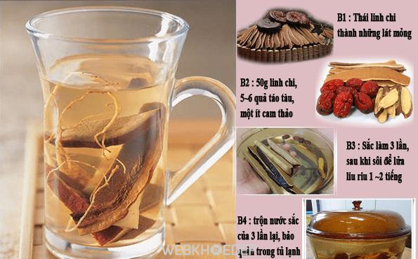 Cách hãm trà nước Linh Chi