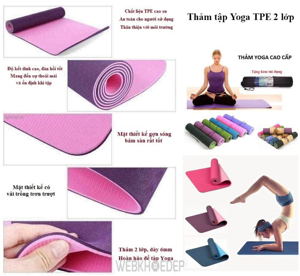 Thảm tập yoga TPE 2 lớp với kích thước lớn, dễ dàng phù hợp với cơ thể nhiều người tập khác nhau