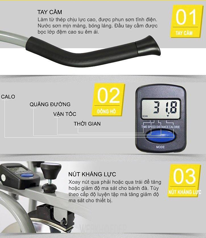 Xe đạp tập Obitrac Elite MO-2082 với nhiều tính năng hiện đại