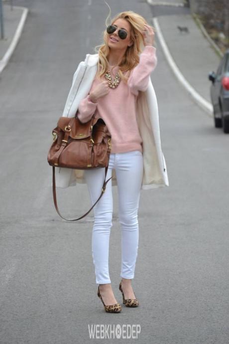 Mách nước cho bạn gái cách phối quần jeans trắng - Hình 9