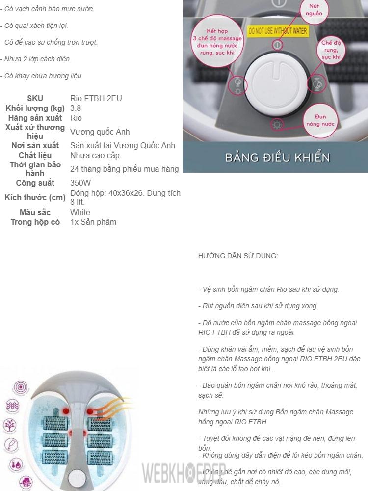 Cách dùng bồn ngâm chân và massage Rio