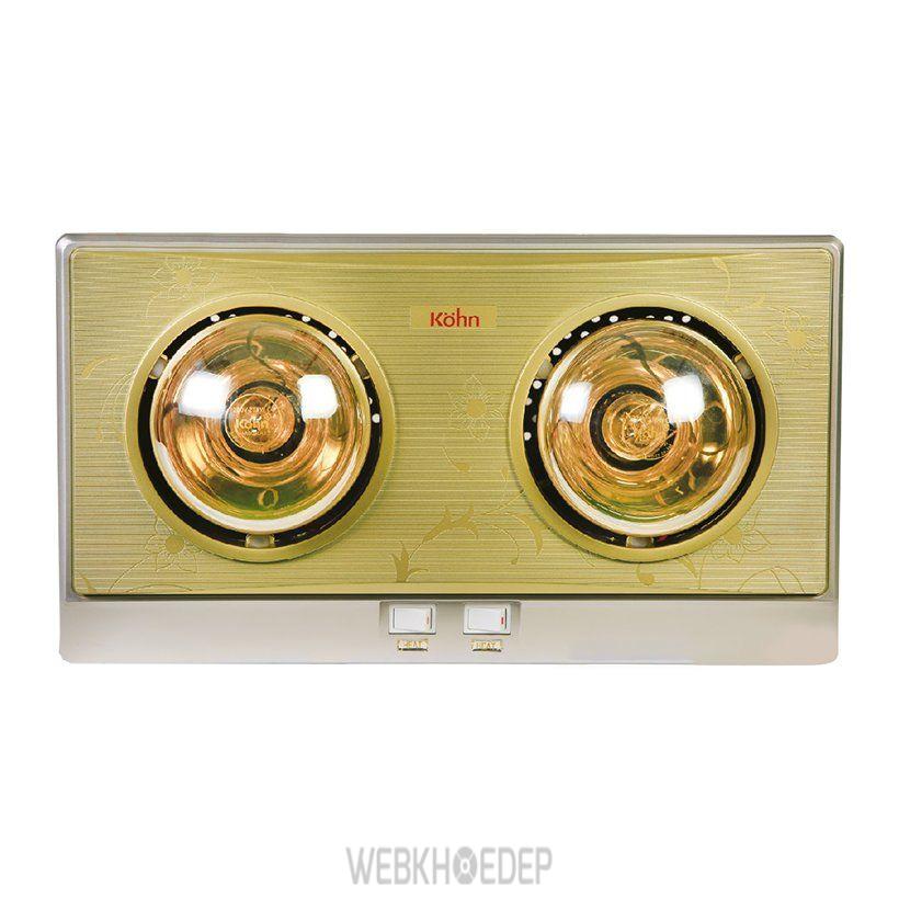 Đèn sưởi nhà tắm 2 bóng Braun Kohn KN02G được thiết kế hoa văn chìm sang trọng