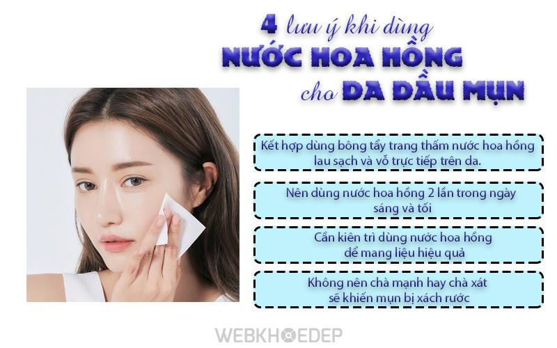 4 lưu ý khi dùng nước hoa hồng cho da dầu mụn